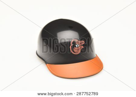 Irvine, California - February 28, 2019:  Closeup Of A Mini Collectable Batters Helmet For The Baltim