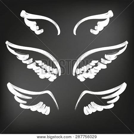 Angel Wings Icon Sketch Collection, Abstract Wings Sketch Set Icon Collection Cartoonhand Drawn Vect