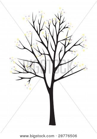 Black Tree Silhouette On White Background
