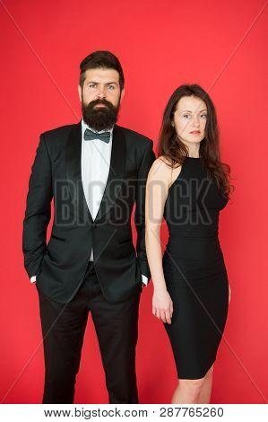 Award Ceremony Concept. Bearded Gentleman Wear Tuxedo Girl Elegant Dress. Formal Dress Code. Visitin