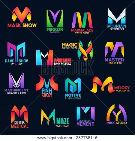 Corporate Identity M Vector Icons Of Home Repair Service, Movie Cinema Or Circus Show And Security F