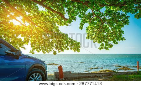 Blue Sport Suv Car Parked By The Tropical Sea Under Umbrella Tree. Summer Vacation At The Beach. Sum