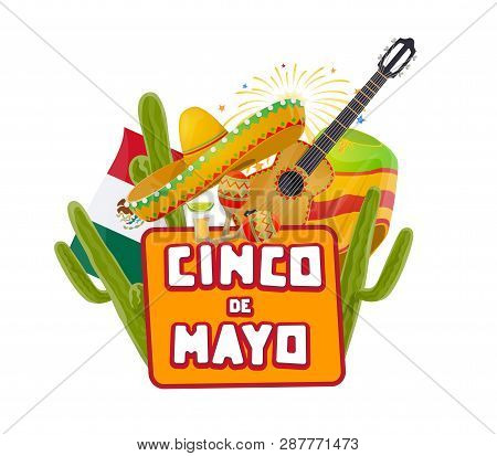 Cinco De Mayo Mexican Party Celebration Fireworks And Cactuses. Vector Mexico 5 May Holiday Or Cinco