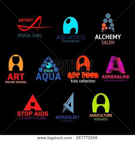 Letter A abstract icons for business. Artery and aquatic, alchemy and art, aqua and abc book, adrenaline and aids, archaeology and agriculture. Organization and enterprises symbols vector isolated poster