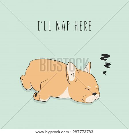 Funny Exhausted Dog Sleeping. Cartoon Pet Character. Vector Puppy Napping Graphic Illustration. Anim