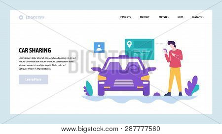Vector Web Site Design Template. Car Sharing. Get Your Car By Smart Phone App. Landing Page Concepts
