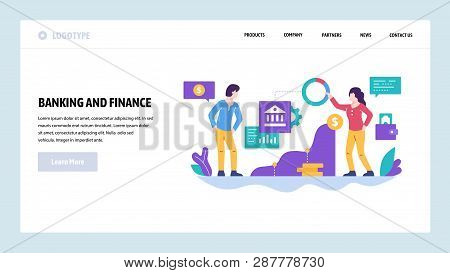 Vector Web Site Design Template. Finance And Business Strategy, Bank Investment, Money. Landing Page