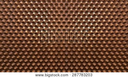 Copper Background With The Hexagos, 3d Rendering