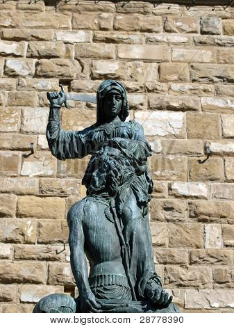 Florence - The statue of Judith and Holofernes. The statue of Judith and Holofernes Symbol of the florentin's freedom by Donatello poster