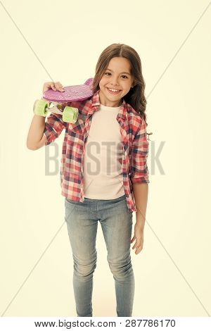 Little Child Smile With Penny Board Isolated On White. Happy Skater Girl. Ready To Ride. Hipster Chi