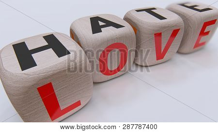 Love And Hate Wood Cubes, 3d Rendering