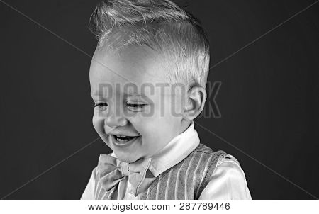 Haircut that is easy to manage. Boy child with stylish blond hair. Healthy haircare tips for kids. Little child with messy top haircut. Little child with short haircut. Haircare products. poster