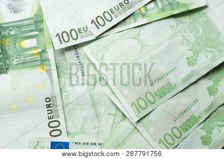 Euro Money Bank. Euro Bills Background. One Hundred Euro Bills. A Lot Of Euro