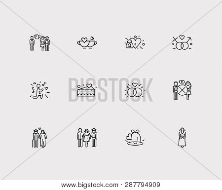 Affection Icons Set. Old Couple And Affection Icons With Betrayal, Divorce And Engagement Ring. Set