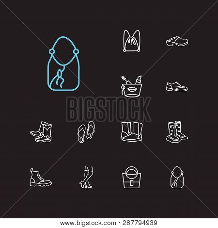 Bags Icons Set. Knee High Boots And Bags Icons With Uggs, Cosmetic Bag And Ring Bag. Set Of Baggage