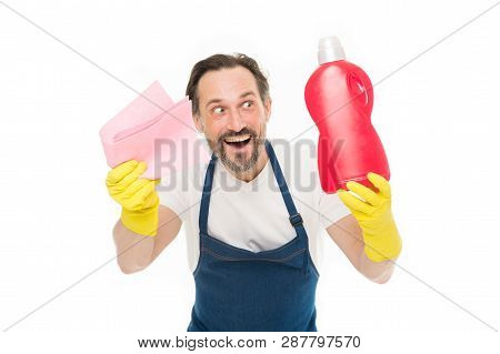 Smart cleaning solution. Cleaning service and household duty. Man in rubber gloves hold bottle liquid soap chemical cleaning agent. Bearded guy cleaning home. Cleanup concept. Get rid of stains. poster