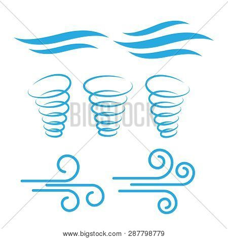 Wind Icons Nature, Wave Flowing, Cool Weather, Climate And Motion - Vector