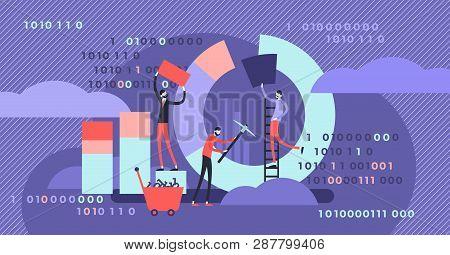 Data Mining Vector Illustration. Flat Tiny Chart Graph Creation Person Concept. Symbolic Data Pie, D