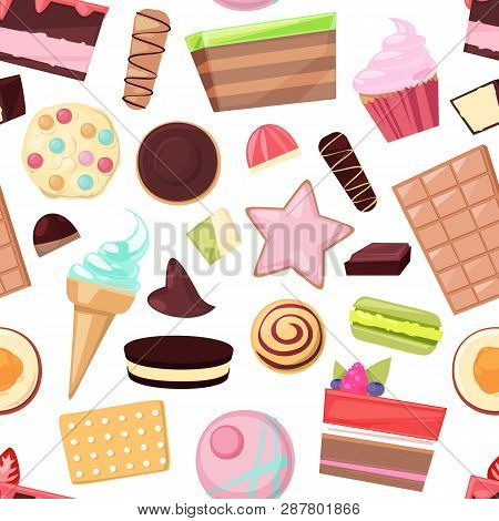 Confectionery Sweets Vector Chocolate Candies And Sweet Confection Dessert In Candyshop Illustration