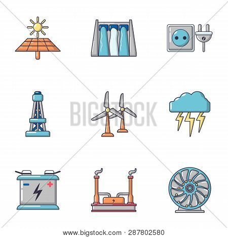 Intensity icons set. Cartoon set of 9 intensity icons for web isolated on white background poster