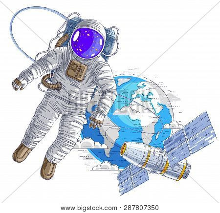 Astronaut Flying In Open Space Connected To Space Station And Earth Planet In Background, Spaceman I