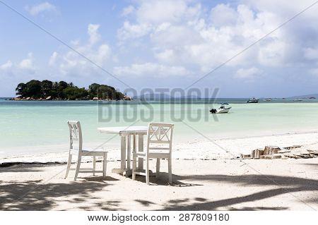 Tropical Landscape At Praslin Island At Seychelles