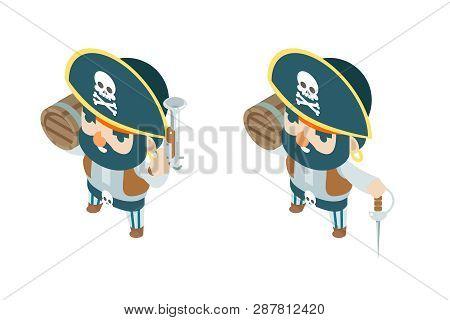 Pistol black powder flintlock corsair pirate ship buccaneer filibuster sea dog sailor fantasy RPG treasure game isometric character flat design vector illustration poster