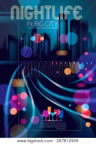 Big City Nightlife With Street Lamps And Bokeh Blurred Lights. Effect Vector Beautiful Background. B