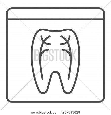 Dental Xray Thin Line Icon. Tooth Xray Vector Illustration Isolated On White. Orthodontic Roentgen O