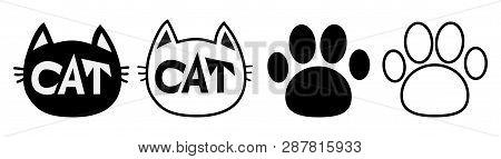 Black Cat Head Face Contour Silhouette Icon Set Line. Pictogram. Empty Template Paw Print Track. Cut