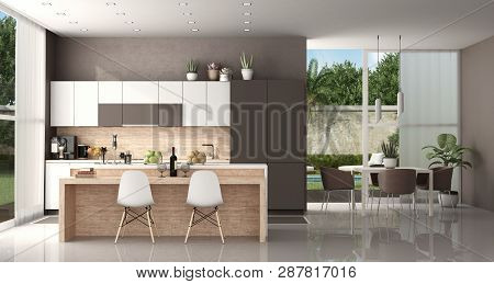 Modern Kitchen Of A Modern Villa With Island And Dining Table With Chairs - 3d Rendering