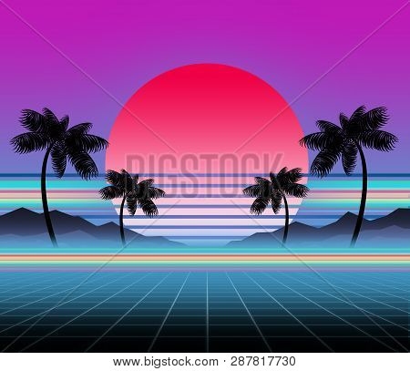 Glowing Neon, Synthwave And Retrowave Background Template. Retro Video Games, Futuristic Design, Rav