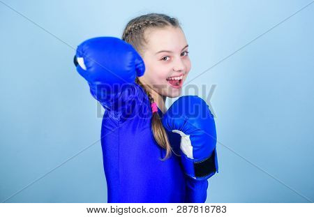With Great Power Comes Great Responsibility. Boxer Child In Boxing Gloves. Girl Cute Boxer On Blue B