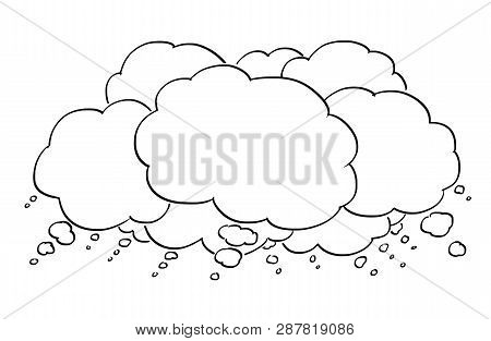Cartoon Conceptual Drawing Or Illustration Of Group Of Empty Text Or Speech Balloons Or Bubbles. Bus