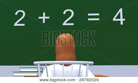 girl reading lesson on blackboard