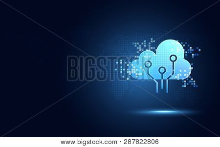 Futuristic Blue Cloud With Pixel Digital Transformation Abstract New Technology Background. Artifici