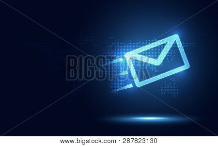Futuristic Blue Express Envelope And Parcel Abstract Technology Background. Business Quantum Interne