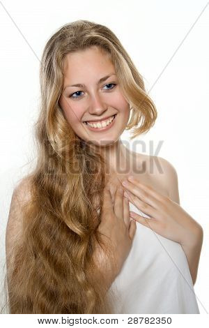 Young Blond Girl In Spa Salon