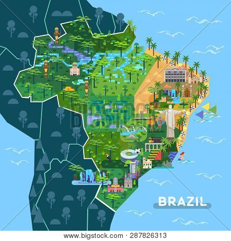 Landmarks On Latin America Map. Sightseeing Of Argentina And Brazil Country, City Sao Paulo, Buenos