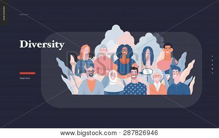 Technology 3 - Diversity - Modern Flat Vector Concept Digital Illustration Of Various People Present
