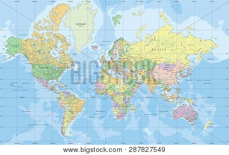 Political World map in Mercator projection vector illustration.