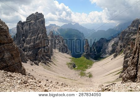 The Campanile Di Val Montanaia (2173 M) Is A Top Of The Friulian Dolomites. Belongs To The Group Of