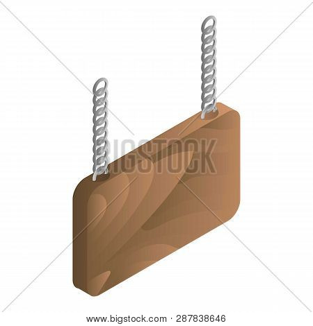Welcome Wood Board Icon. Isometric Of Welcome Wood Board Icon For Web Design Isolated On White Backg