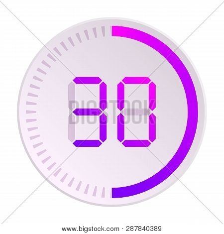 The 30 Minutes, Stopwatch Vector Icon, Digital Timer. Vector Digital Count Down Circle Board With Ci