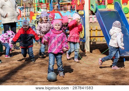 St. Petersburg, Russia - 11 April, Children Play On The Playground, 11 April, 2018. Children On The