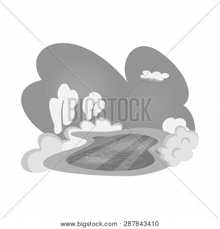 Vector Illustration Of Pond  And Ice Symbol. Set Of Pond  And Winter Vector Icon For Stock.