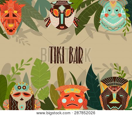 Tiki Bar Design Template With Tribal Masks And Jungle Leaves. Design Elements With African Ethnic Ge