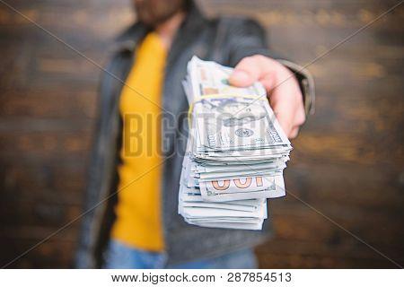 Illegal Profit And Black Cash. Guy Mafia Dealer With Cash Profit. Brutal Man Has Cash Money. Richnes