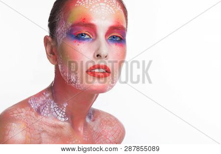 Sensual Woman With Colorful Artistic Bodyart Portrait On White Background, Empty Space