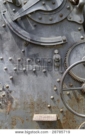 Plate metal with rivets and gears